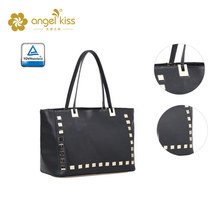 Guangzhou handbag factory lady PU leather tote bag with studs