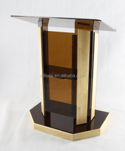 CP-037,Oak Wood Church Pulpit ,Clearly Acrylic and Wood Pulpit