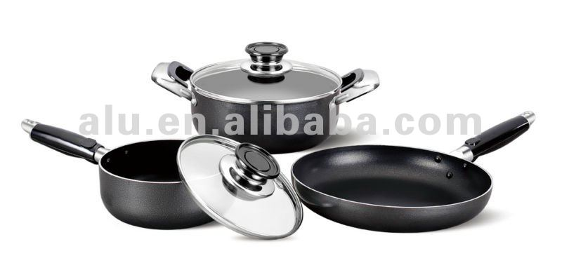 High Quality Aluminum Non-stick Pressed/Forged Cookware Kitchenware Set Cooking Stock Milk Pot Frying Pan