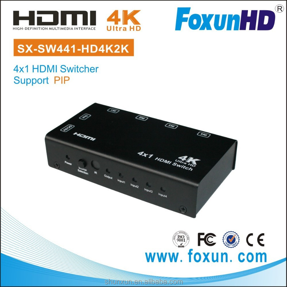 Foxun SX-SW441-HD4K2K HD 4k Video HDMI switch audio 4 in 1 out HDMI Selector Supports PIP HDMI switch
