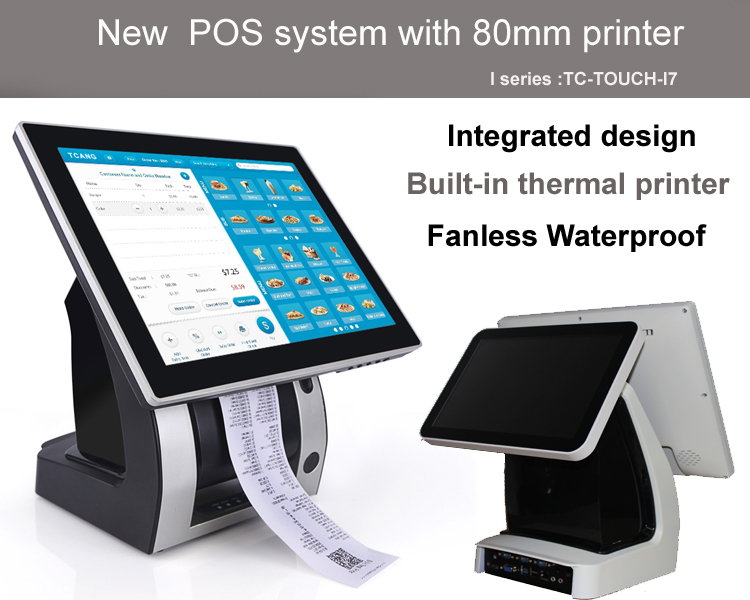 15 inch windows LED display/ all in one pos PC/ with 80mm thermal receipt printer