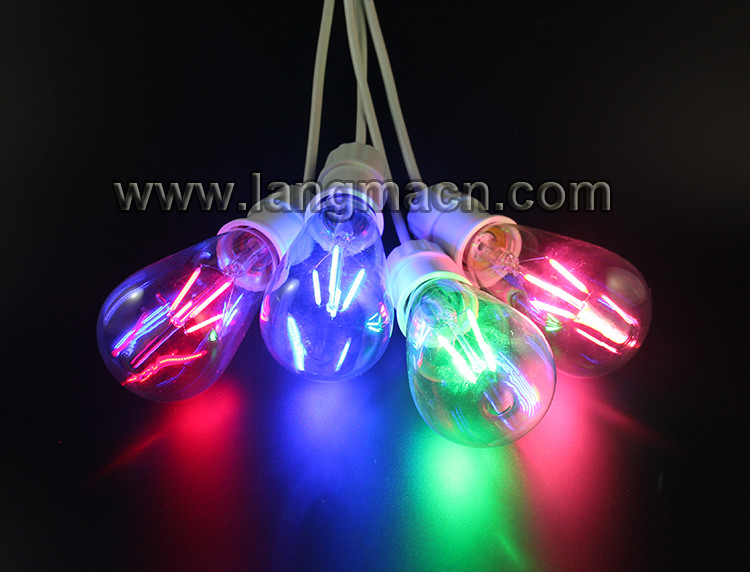 2017 Christmas lighting 4w 6w colorful RGB filament led bulb ST64