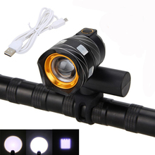 Rechargeable XML T6 USB LED ZOOM Front Bike Light Built-in Battery Bicycle Light