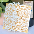 MR017 New design Laser cut ivory invitation card for wedding