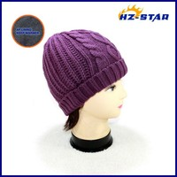 HZM-13303015 2015 New Fashion Style beige100% acrylic ladies winter free pattern ladies knitted visor cap hat men s