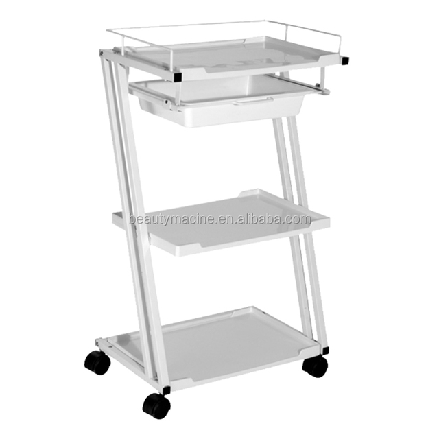 With A Drawer Plastic White Rolling Spa Trolley For Pedicure And Manicure Salon Spa Plastic Trolley Carts For Beauty Salon