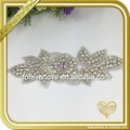 Wholesale rhinestone and pearl beaded applique ornaments lace trimming rhinestone trimming for garment