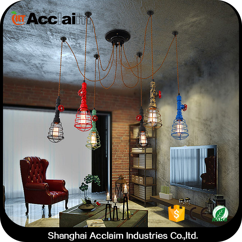 American industrial chandelier vintage iron pendant <strong>lamp</strong> for home decorations