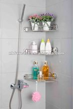 Bathroom corner rack with suction cup