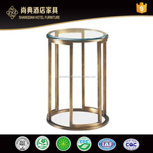 Design New Stainless Steel Base Hotel Tempered Glass Coffee Table