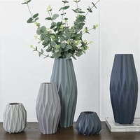 Origami art fluted design wedding decor antique ceramic flower vase / matt decorative vases for hotels