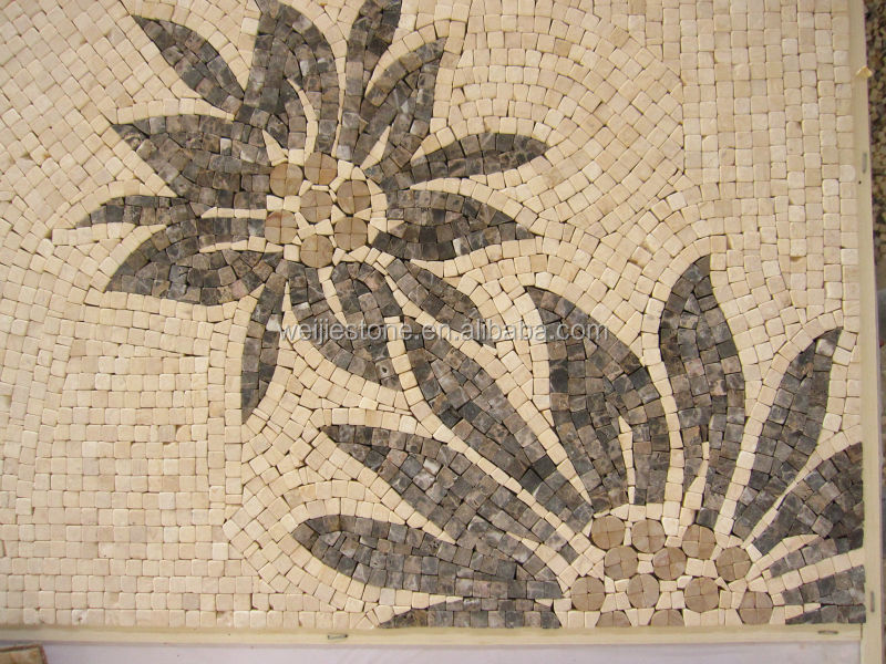 Marble mosaic kitchen tile mural, antique medallion floor tile