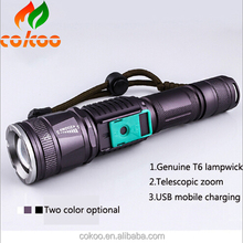 3000 Lumen XM-T6 led Torch Zoomable Waterproof lantern LED tactical Flashlights Torch Light+18650 battery&charger