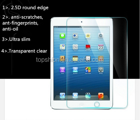 Wholesale price 0.3mm round edge for ipad mini 4 screen protector transparent clear tempered glass screen protector film guard