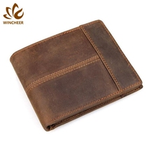 Handmade wallets window id card holder new arrival personalized real leather wallet with low price