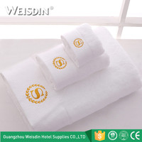 Wholesale embroidered 100% cotton bathroom towels bath set luxury white hotel bath towels