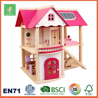Children wooden toy barbie house for kids pretend play