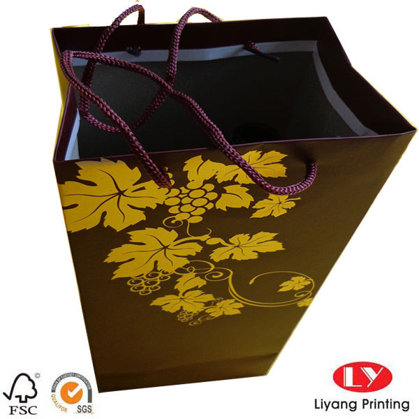 made in china new fancy gift paper wine bag with your own design