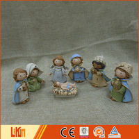 Resin Miniature Kids Christmas Nativity Sets Holiday Home Decor