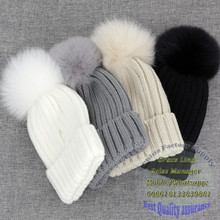 2016 hot selling best quality large raccoon fur pom pom beanie hats caps