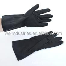 black color chemical resistant industrial latex rubber work gloves