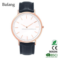 Simple custom rose gold case GL20 movt 30 m waterproof leather quartz watch