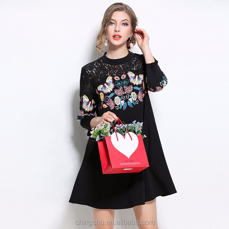 Wholesale woman printed A line dress elegant 3/4 sleeve shoulder lace casual women summer dress lady clothes