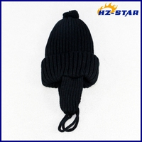 HZM-14195005 2015 fashion earmuffs high quality balck kids twill hats