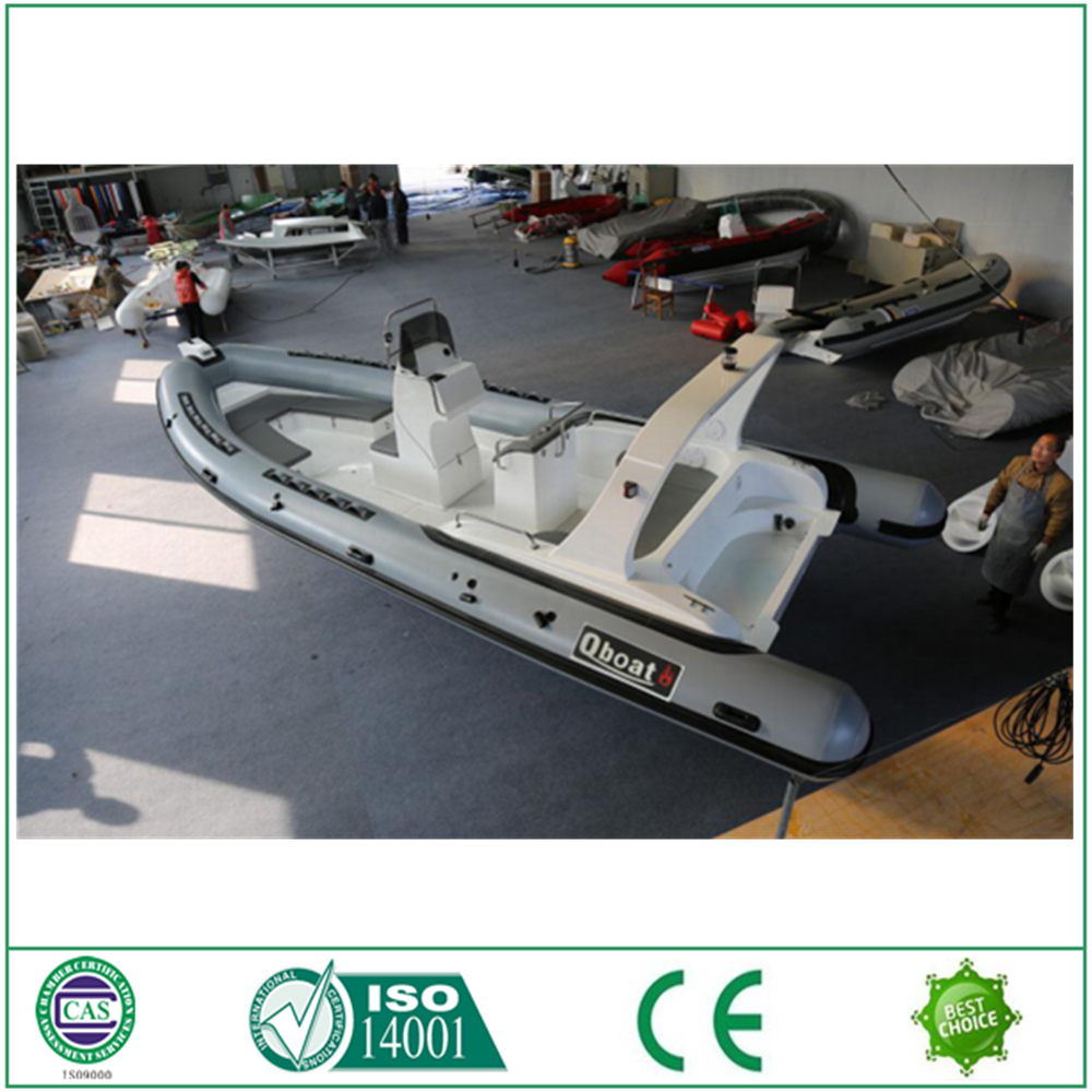 China manufacturer luxury fiberglass RIB Boat with different material
