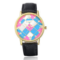 Stylish cheap branded women one dollar cheap watches wirh 5 colors leather watch
