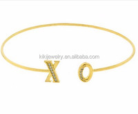 Top Hot Selling Zinc Alloy18k Gold Plating Kiss And Hug Cuff Crystal Bracelet Jewelry