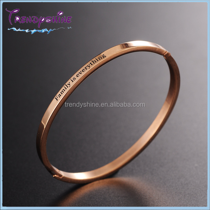Fashion women's rose gold stainless steel custom bracelet write name