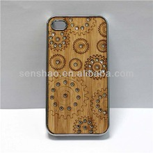 Hot Sale Metal Wood Case For iPhone 5 , Wooden Bling Diamond Smartphone Cover Case