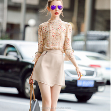 Wholesale long sleeve flower printed chiffon blouse design patterns back neck for lady