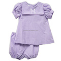 Girl's gingham clothing set with ric rac