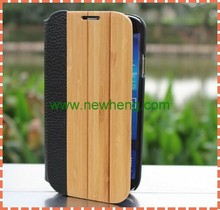 Hard case for phone,Bamboo&wooden leather case for Samsung S4