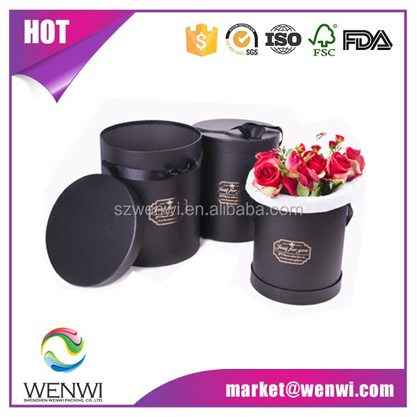 Hot sale golden stamping logo round flower <strong>box</strong>
