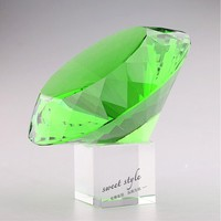 New arrival Wedding Decoration k9 Crystal Engraved Green Diamond Paperweight