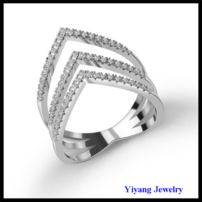 Triangle Shape Silver Casting Ring Pave Zircon