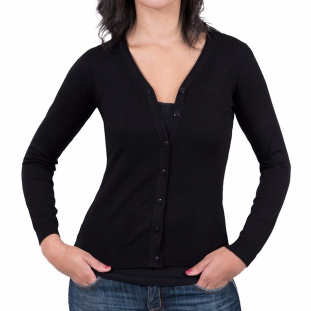 Basic style Black women pure cashmere cardigan sweater