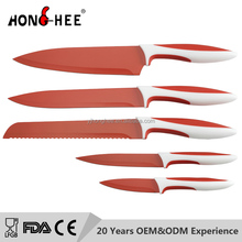 Hooghee non stick kitchen knife 5pcs colorful non-stick coating knife set