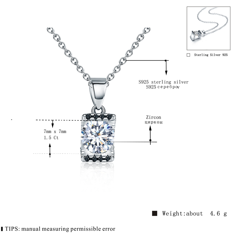[BLACK AWN] 925 Sterling Silver Fine Jewelry Trendy Engagement Necklaces for Women Wedding Pendants P014