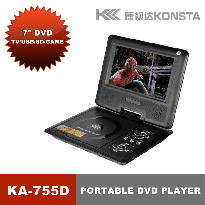 cheap portable car DVD mkv player with USB SD slot, FM player both analoge TV tuner and ISDBT TV support