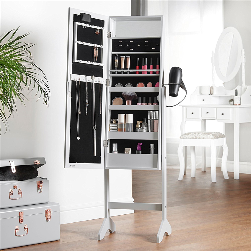 Houseware Outlets New Wooden Standing Mirror Jewelry Cabinet With LED Hanging Storage Armoire Organizer Box Wall Mount