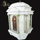 European White Big Granite Marble Tombstone With Pillar And Door