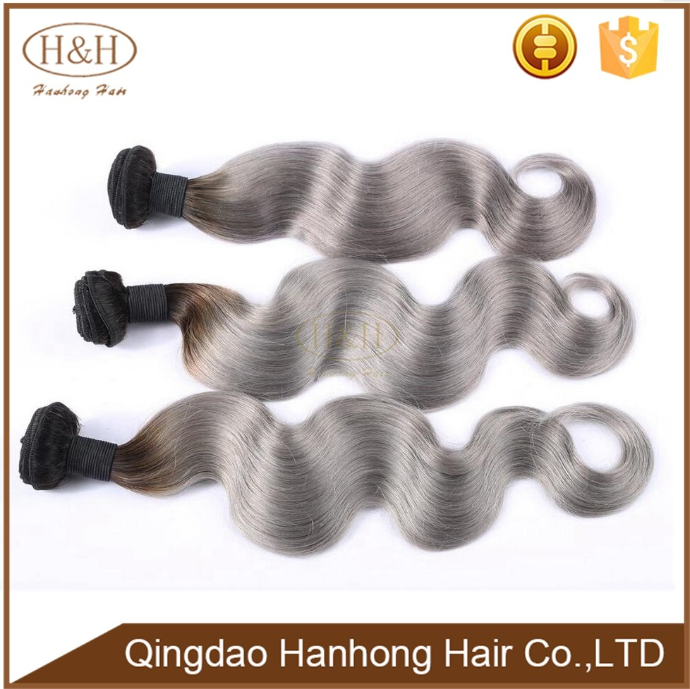Unprocessed pervian grey color human hair weave body wave ombre color