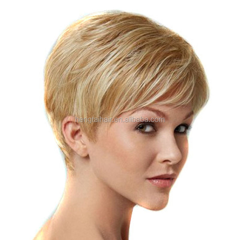 High Temperature Fiber Synthetic Hair Pieces Short Blonde Wig for White Women