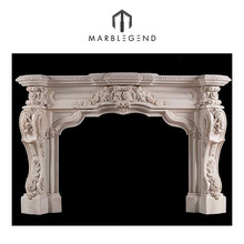 good quality ornately carved italian statuary marble electric fireplace surround