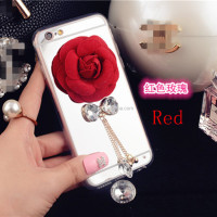 2016 Mirror Rose Tassel Case For iPhone 5 Flower Phone Cover Case Soft TPU For iPhone 5 Metal Chain With Diamond Ultra Thin