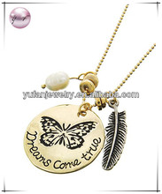Antique Gold Tone Metal / White Fresh Water Pearl / Lead&nickel Compliant / Butterfly W/message & Feather Pendant / Necklace